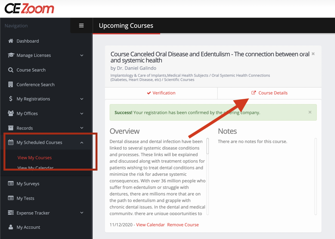 course details from scheduled courses